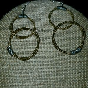 Dangly rope and barbed wire earrings